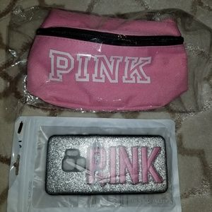 PINK phone case & fanny pack.Samsung 6S